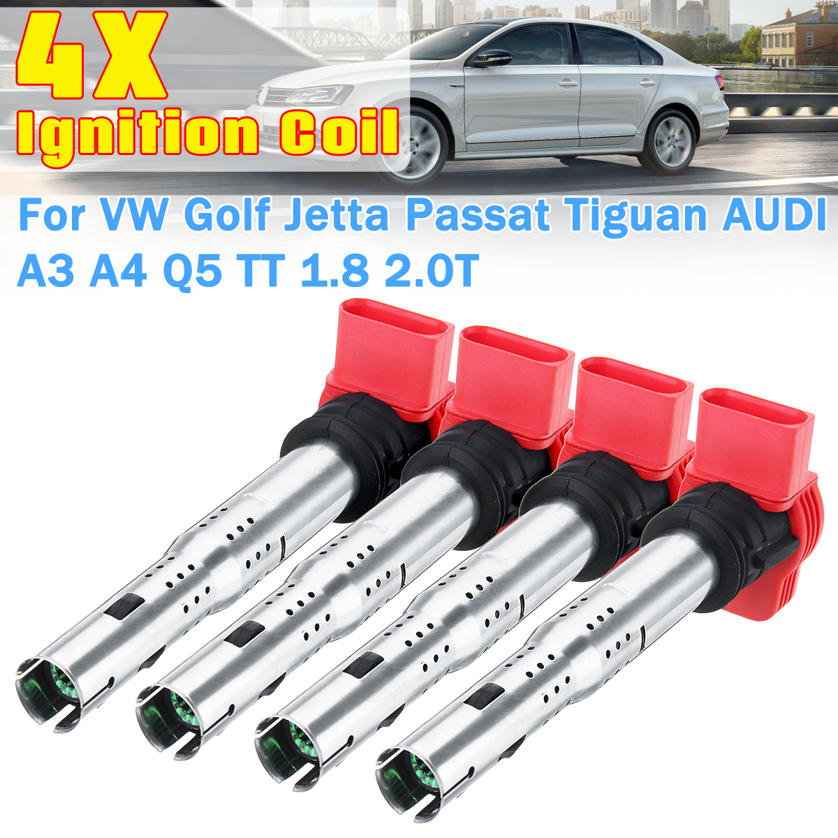 цена на 4Pcs 06E905115A/B/C/D/E Universal Ignition Coil for VW for Golf for Jetta for Passat for Tiguan for AUDI A3 A4 Q5 TT 1.8 2.0T