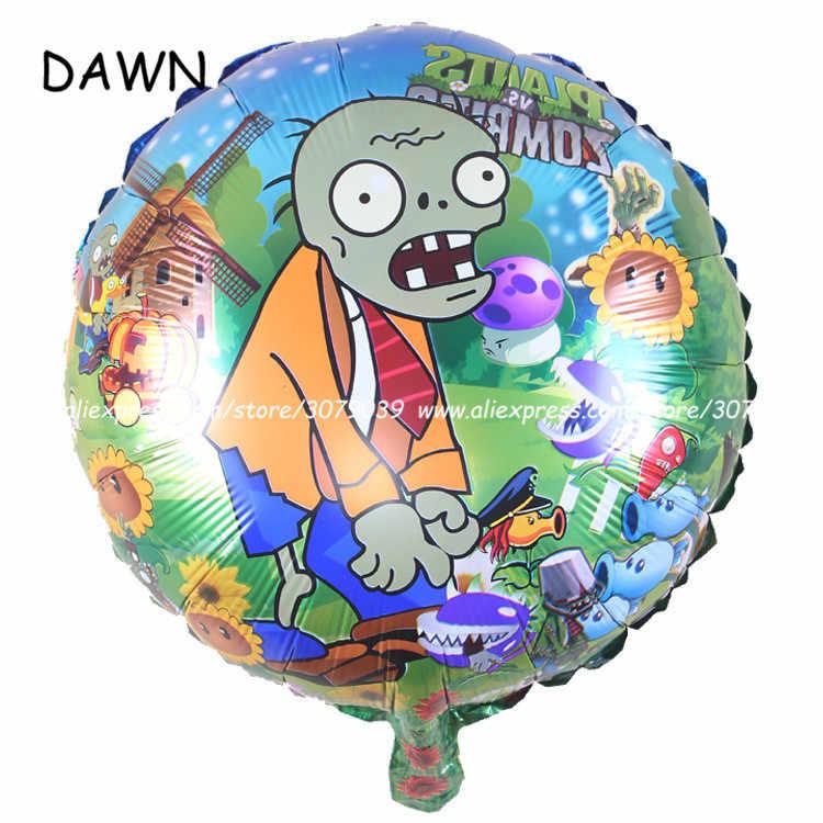 50 pçs/lote 18 polegada desenhos animados plantas vs zombies balões de folha crianças festa de aniversário decorações da folha de hélio baloons criança brinquedos venda quente