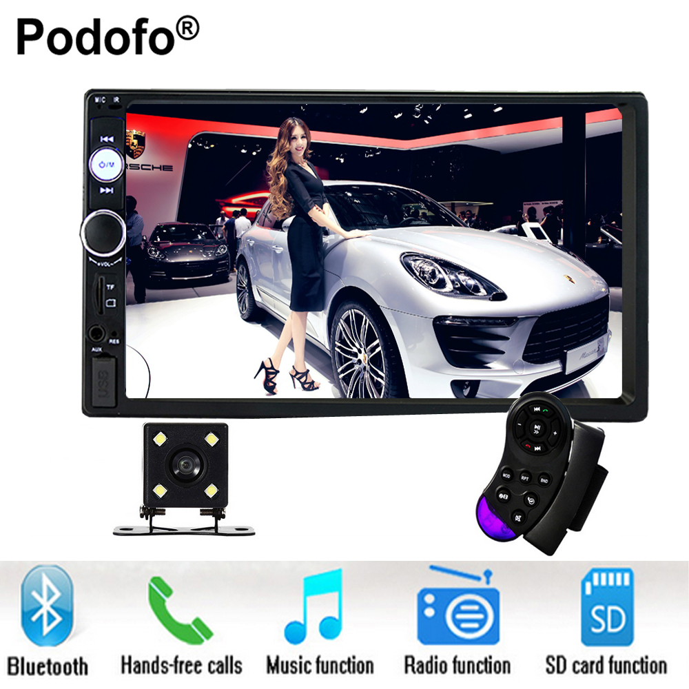 Podofo 2 Din Car Radio Bluetooth 7Touch Screen autoradio 12V Auto Stereo Audio USB/TF/AUX/FM/MP5 Car Audio Player With Camera 7 inch hd touch screen 2 din bluetooth auto car audio stereo fm mp5 player support aux usb tf phone reverse rearview camera