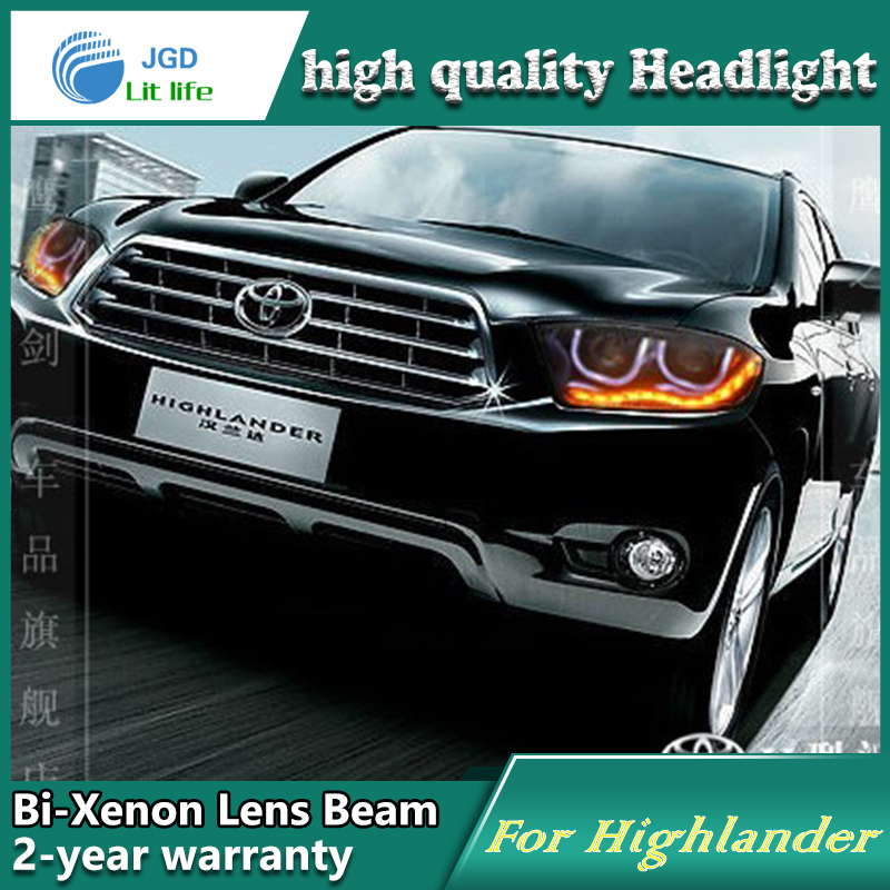Car Styling Head Lamp case for Toyota Highlander 2009-2011 LED Headlights DRL Daytime Running Light Bi-Xenon HID Accessories 2009 2011 year golf 6 led daytime running light