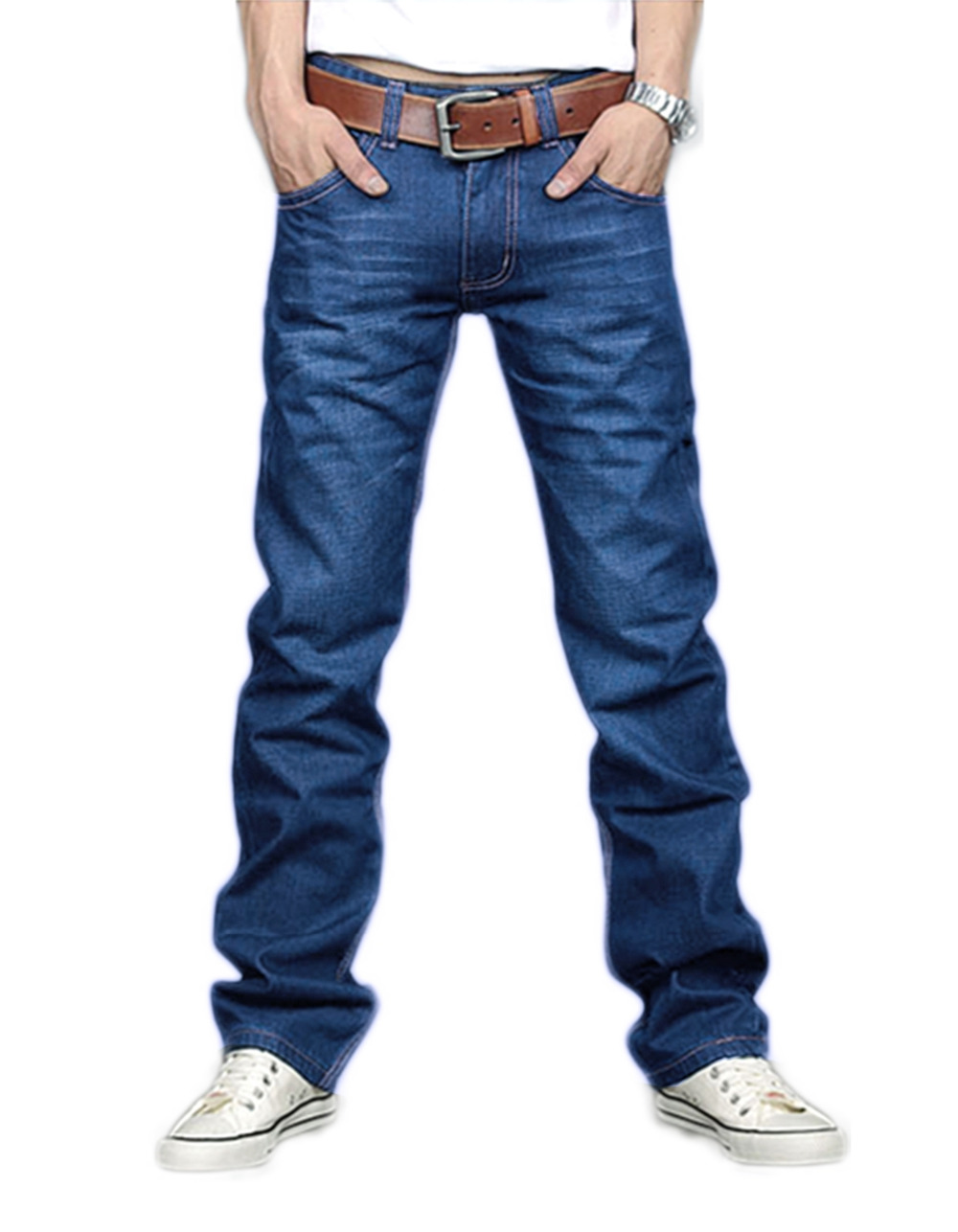 ФОТО Fashion Men Slim Fit Classic Jeans Trousers New Straight Leg Blue Color for Spring Winter
