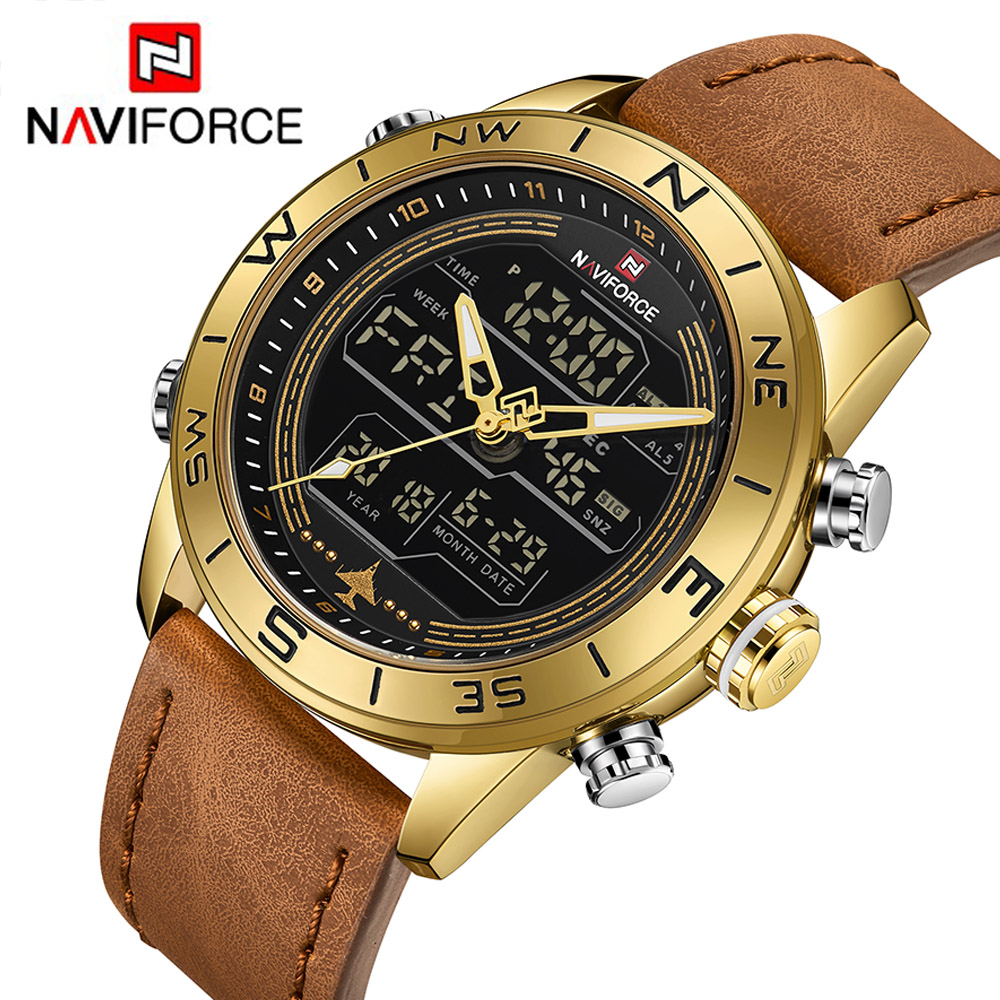 NAVIFORCE 9144 Fashion Gold Men Sport Watches Mens LED Analog Digital Watch Army Military Leather Quartz Watch Relogio Masculino analog watch
