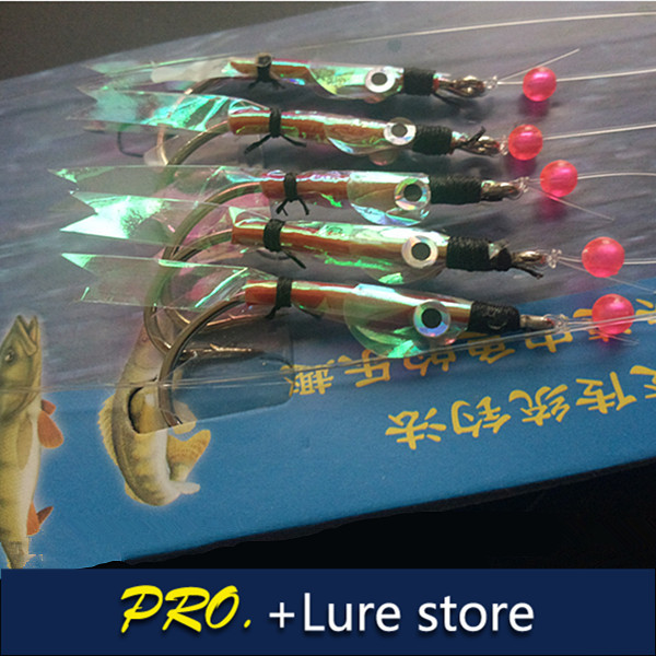 Free shipping 5packs 2016 new artificial sabiki fishing lure jigs special fish skin sabiki baits jigging hooks sabiki lure