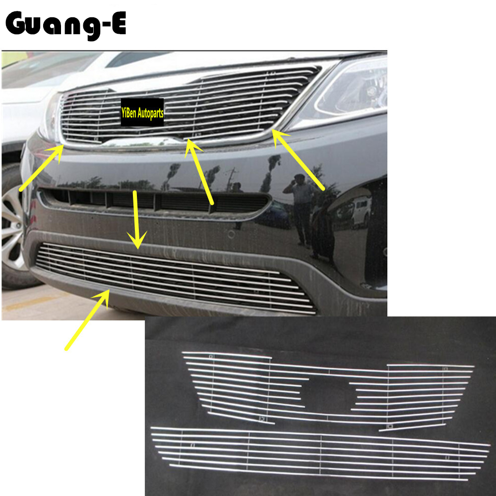 High quality Car body styling Protection detector Metal trim racing Front up Grid Grille grill 1pcs for Kia Sorento 2013-2014 for toyota corolla altis 2014 2015 2016 car body styling cover detector abs chrome trim front up grid grill grille hoods 1pcs