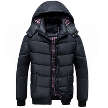 Winter Jacket Men Fashion 2017 New Casual Slim Thick Warm Mens Coats Parkas With Hooded Overcoats Clothing Men Black blue