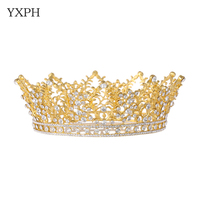 YXPH New Hair Jewelry Wedding Accessories Tiara Crown Gold Color Rhinestone Crystal Bridal Crown Queen Women