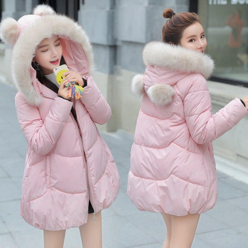 Cute Winter Coat Women 2018 New   Parka   Casual Outwear Hooded Thickening Cotton Coat Winter Pink Jacket Fur Coat Women Clothe