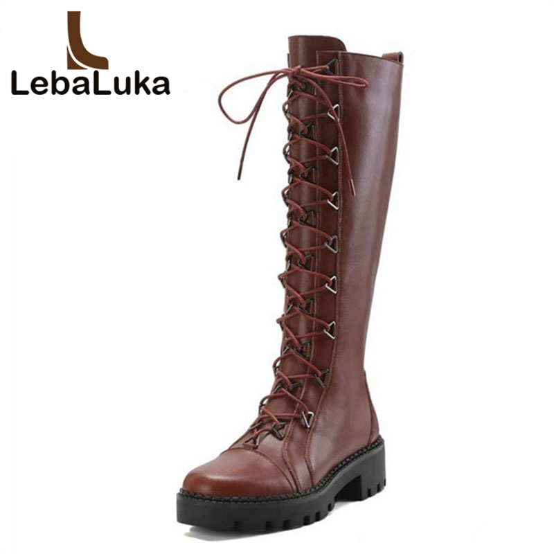 LebaLuka Women Flats Boots Genuine Leather Shoes Women Cross Strap Autumn Winter Warm Knee High Boots Ladies Footwear Size 34-40LebaLuka Women Flats Boots Genuine Leather Shoes Women Cross Strap Autumn Winter Warm Knee High Boots Ladies Footwear Size 34-40