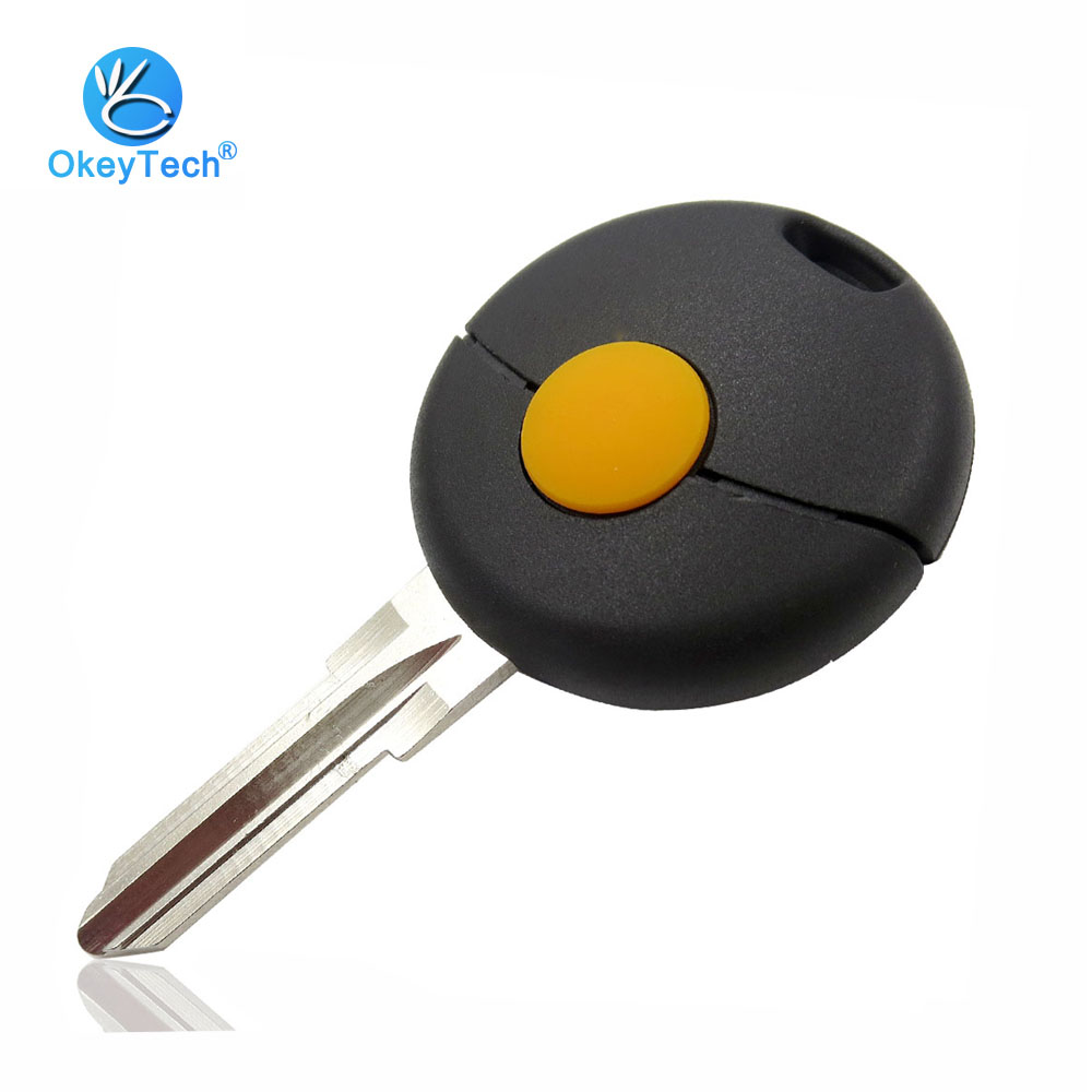 OkeyTech 1 Button Remote Auto Car Key Shell Case Cover Replacement Fob Blade for Mercedes Benz Smart Fortwo Cabrio City Cross