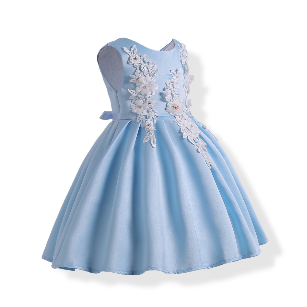 ZIKA Princess Soild Girl Dress Summer Wedding Birthday Party Dresses ...