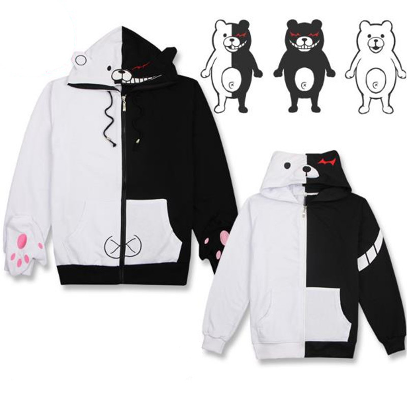 BOOCRE Anime Danganronpa Cosplay monokuma Hoodies Casual Coat Black White Stitching Costumes Unisex Adult