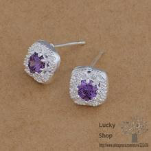 AE627 925 sterling silver earrings , 925 silver fashion jewelry , lt. amethyst stone /bvpakmwa efgamwna(China)