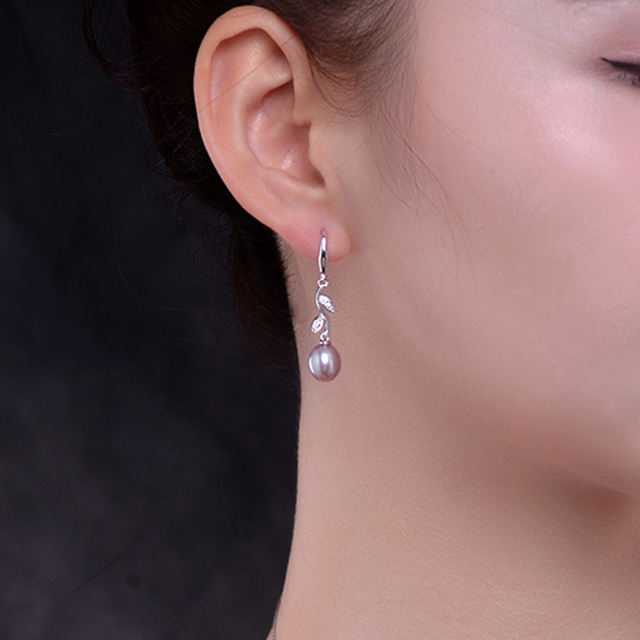 pearl long earrings spring with 925 sterling silver