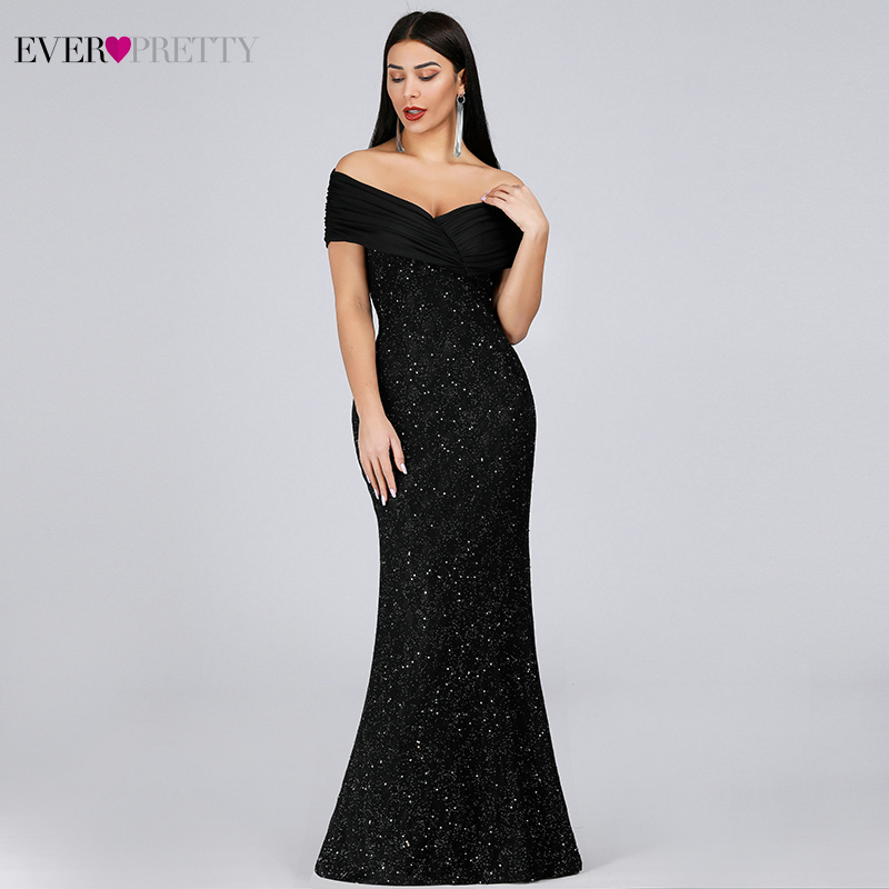 Sparkle Lace Evening Dresses Long Ever Pretty EP07953BK Off The Shoulder Mermaid Elegant Black Formal Dresses Vestidos Longo