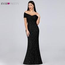 Sparkle Lace Evening Dresses Long Ever Pretty EP07953BK Off The Shoulder Mermaid Elegant Black Formal Vestidos Longo