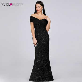 Sparkle Lace Evening Dresses Long Ever Pretty EP07953BK Off The Shoulder Mermaid Elegant Black Formal Dresses Vestidos Longo - DISCOUNT ITEM  30 OFF Weddings & Events