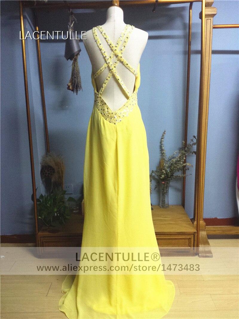 Long Yellow Chiffon Bridesmaid Dress Floor Length Formal Occasion Dress (4)