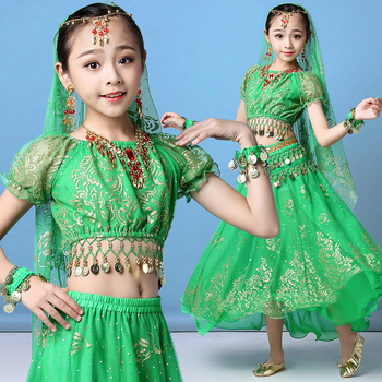 цена на Children Belly Dance Costume Professional Kids Bollywood Costume Indian Style Dancing Clothes 4 Color S-XL Size Short Sleeve