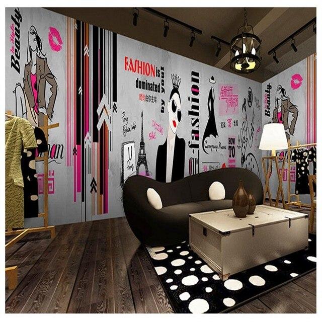 photo papier peint de mode peint la main v tements magasin de papier peint de style industriel. Black Bedroom Furniture Sets. Home Design Ideas