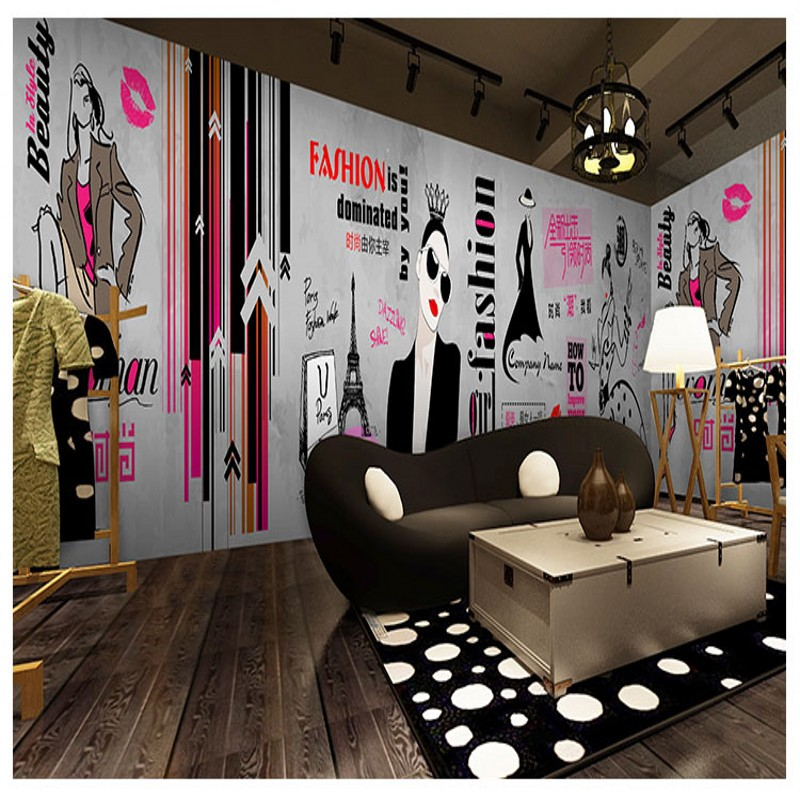 photo wallpaper Fashion hand painted clothing shop wallpaper industrial style cement wall graffiti custom beauty nail mural cement wall photo frame nails 20mm 60mm 80mm 100mm hook wall paintings nail tools bricklayer fasteners woodworking parts