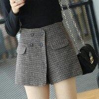 Women Winter Shorts Skirts Female High Waist Casual Woolen Skorts Fashion Vintage Work OL Shorts Spring Plaid Skirts S XL SK264