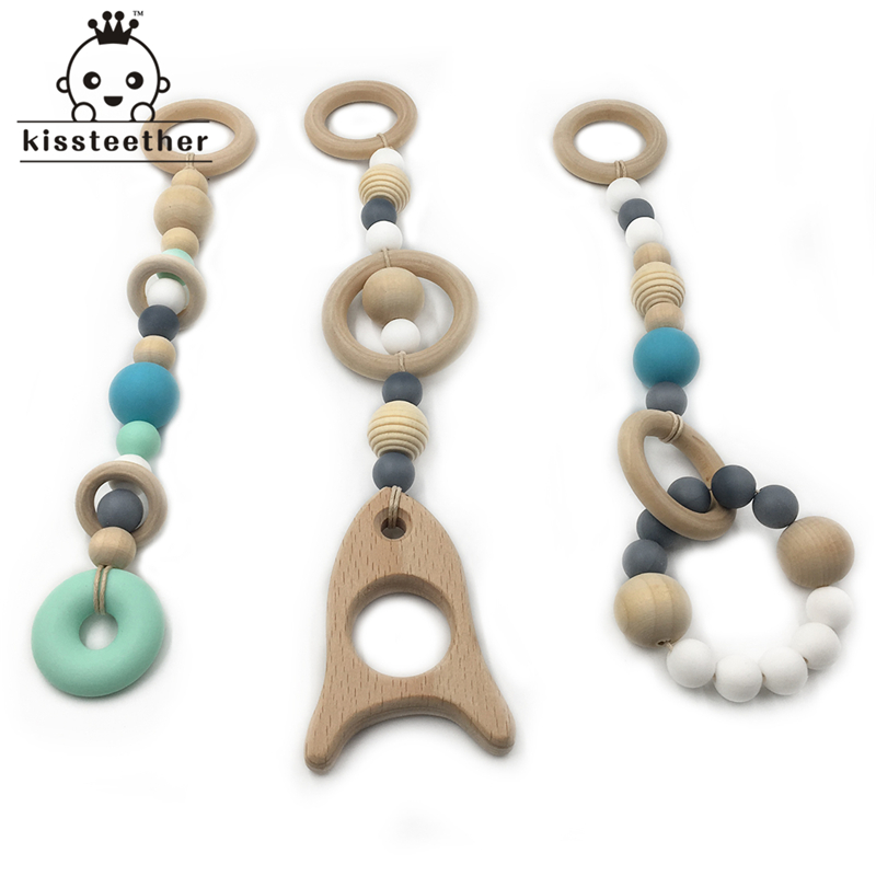 Baby Silicone Teething Toy Wooden Bead Silicone Beads And Ring Into The Baby Teether DIY Safe And Natural Wooden Teether Toys ...