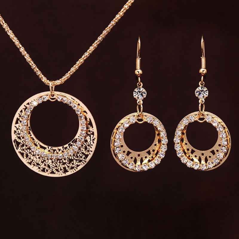 Gold-color Wedding Jewelry Sets Round Shaped Jewelry Elegant Engagement Earring + Pendant Necklace for Female Accessories 1