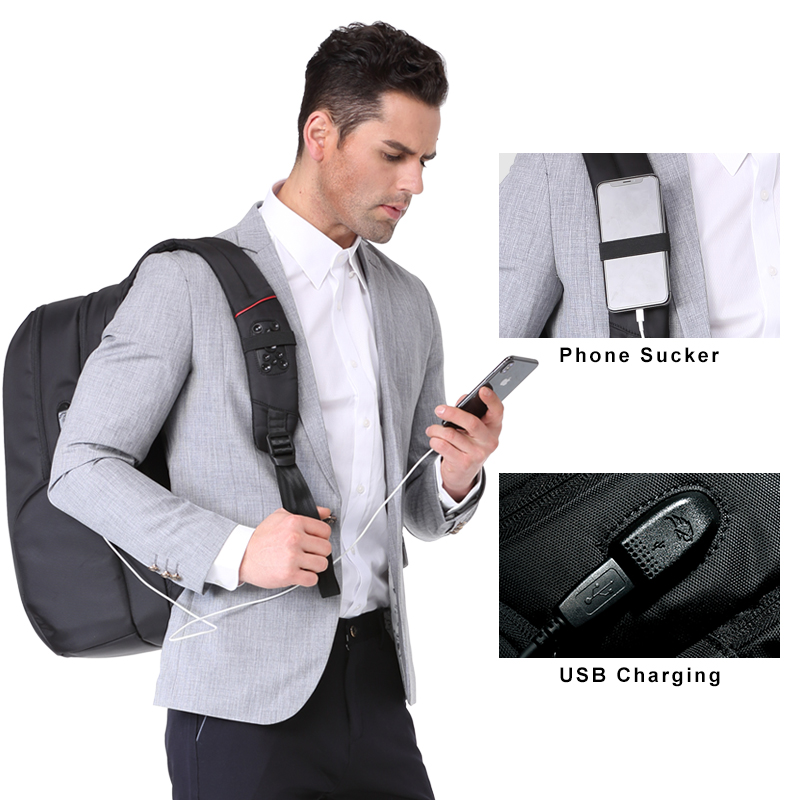Kingsons External USB Charge Laptop Backpack Anti theft Notebook Packsack 15 17 inch Waterproof Laptop Bag for Men Women in Laptop Bags Cases from Computer Office