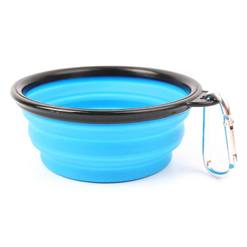 1 pc 애완 동물 부드러운 강아지 그릇 접는 실리콘 여행 그릇 애완 동물 고양이 음식 물 먹이에 대 한 휴대용 접이식 접는 개 그릇