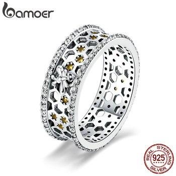 BAMOER натуральная 100% 925 пробы серебро Мода пчелы и вафельная Ясно CZ Кольцо для помолвки Свадебные украшения подарок SCR391