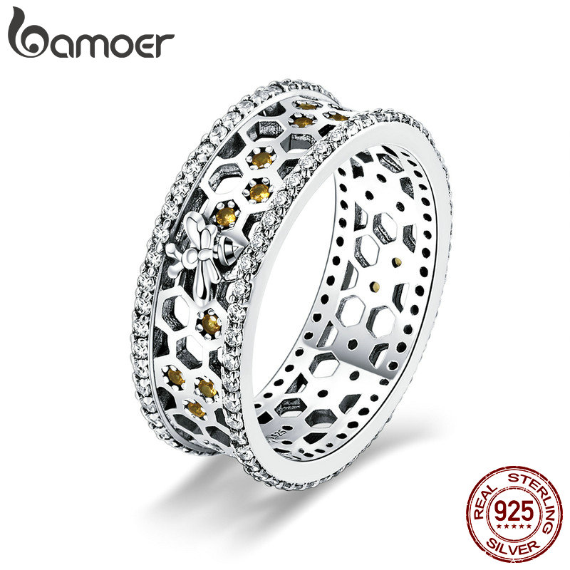 BAMOER Genuine 100% 925 Sterling Silver Trendy Bee & Honeycomb Clear CZ Finger Rings Engagement Wedding Jewelry Gift SCR391BAMOER Genuine 100% 925 Sterling Silver Trendy Bee & Honeycomb Clear CZ Finger Rings Engagement Wedding Jewelry Gift SCR391