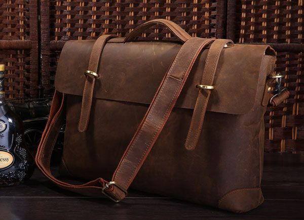 Nesitu High Quality Vintage Brown Genuine Crazy Horse Leather Men Messenger Bags Men's Bag Briefcase Portfolio #M7082