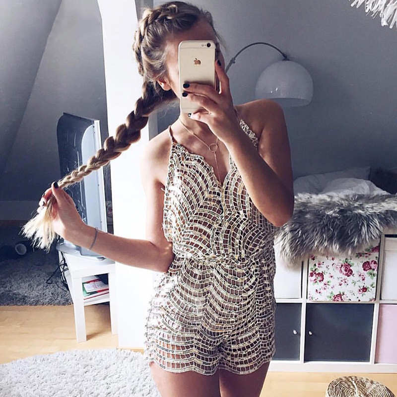 2019 Chic   Jumpsuit   Romper Womens Summer Sequins Embroidery Sexy Deep V Neck Ladies Backless Party Playsuit Overalls for Women