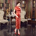Free Shipping Red ladies Long Cheongsam Qipao Traditional Dress Cheap Chi Pao for sale short sleeve chinese wedding dress
