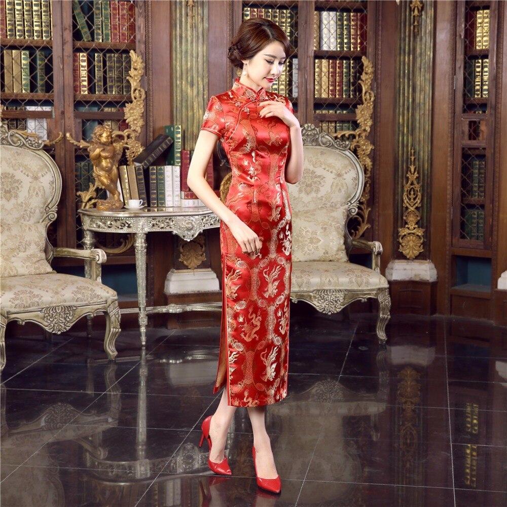 US $15.15 15% OFFShanghai Geschichte Rot frauen Lange Cheongsam Qipao  Traditionelle Chinesische Kleid Günstige Chi Pao für verkauf chinesische