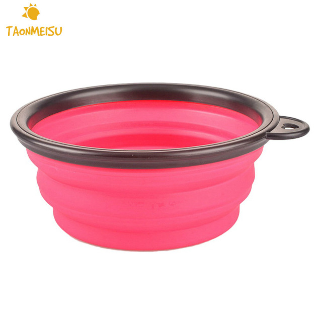 New Collapsible foldable silicone dog bowl candy color outdoor travel portable puppy doogie food container feeder dish on sale 1