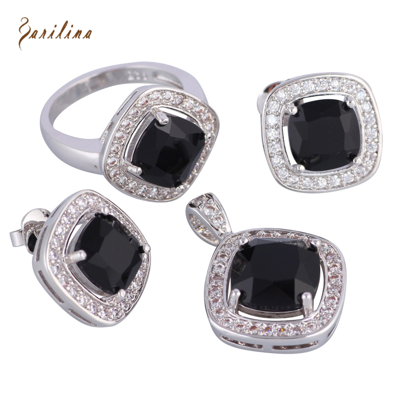 Black Cubic Zirconia 925 Sterling Silver Overlay Pendants Ring Earrings fashion Jewelry Set size 6 7