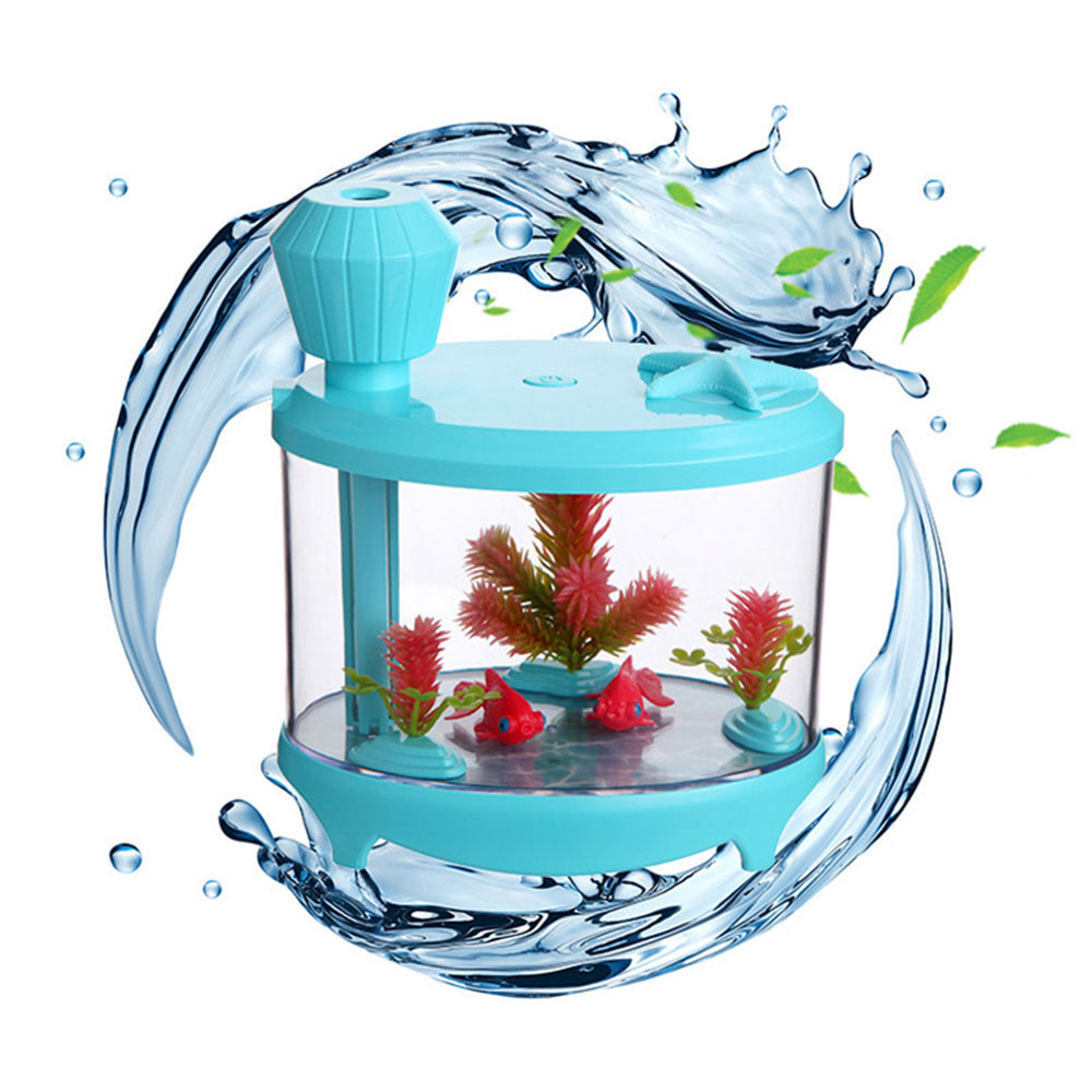 Creative Fish Tank Humidifier 460ML Household Mini USB Ultrasonic Air Humidifier Night Light Aroma Oil Diffuser for home ivyshion 1pc arotrerapy humidifier creative heart fireworks led night light air humidifier seven colors aroma diffuser for home