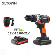XLTOWN 12/16.8/21Velectric screwdriver rechargeable lithium battery two-speed electric screwdriver household cordless drill tool