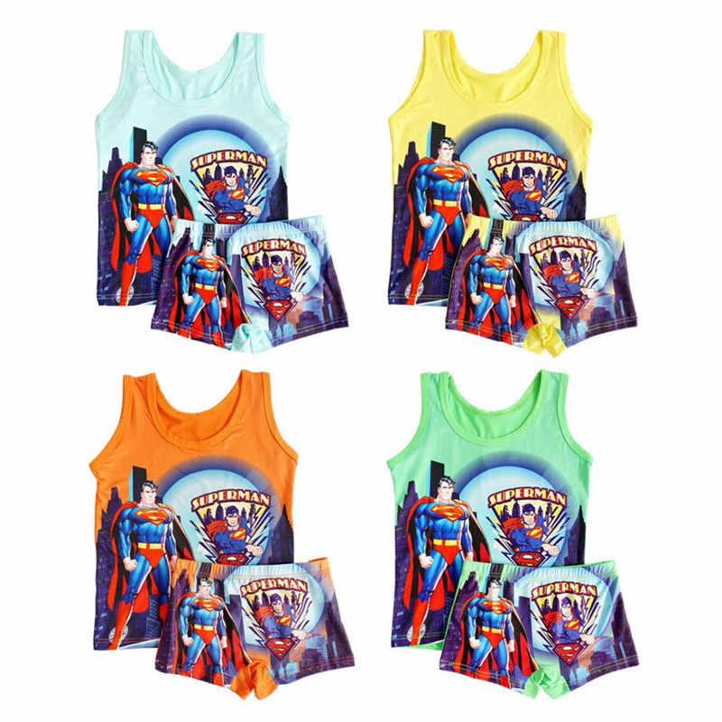Neue Kinder Jungen Pyjamas Anzug Sommer Pijama Superman Cartoon Baby Jungen Nachtwäsche Weste Anzug Kinder Pyjamas Kleidung Homewear 2T -6T