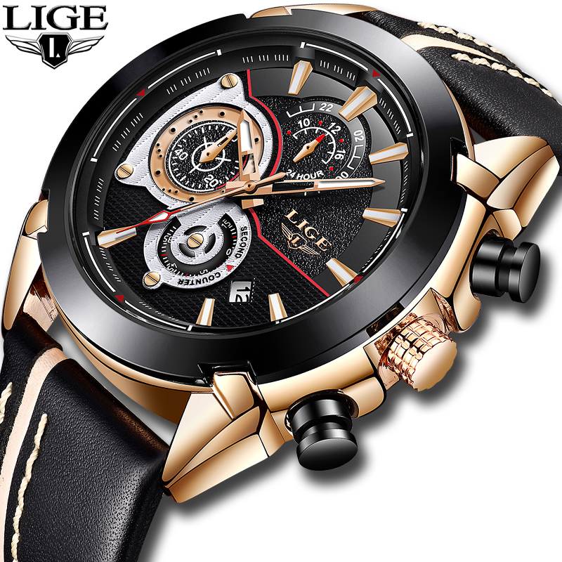 LIGE New Top Brand Luxury Watches Mens Military Sports Waterproof Watch High Quality Leather Quartz Clock Relogio Masculino+Box skmei 6911 womens automatic watch women fashion leather clock top quality famous china brand waterproof luxury military vintage