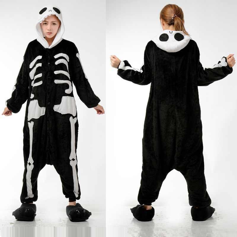 Кигуруми Скелет с длинным рукавом капюшоном Onesie Хэллоуин взрослых костюмы  зима для женщин пижамы плюс размеры fea429bbd4c70