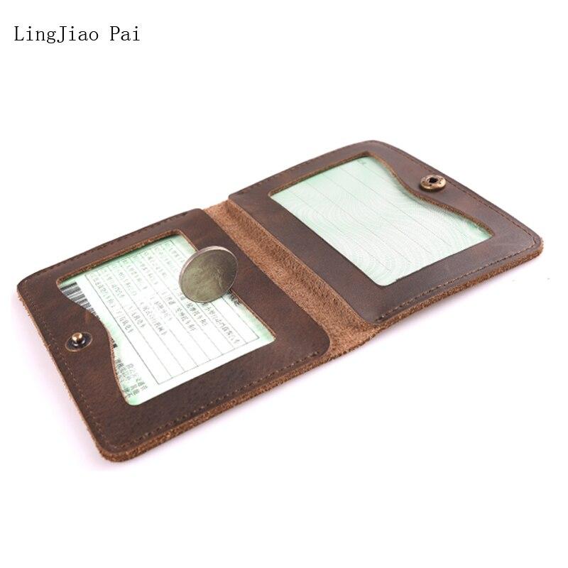 Lingjiao Pai ручной работы одноцветное Пояса из натуральной кожи Для мужчин водительские права держатель простой Дизайн Для женщин водителя Обл... ...