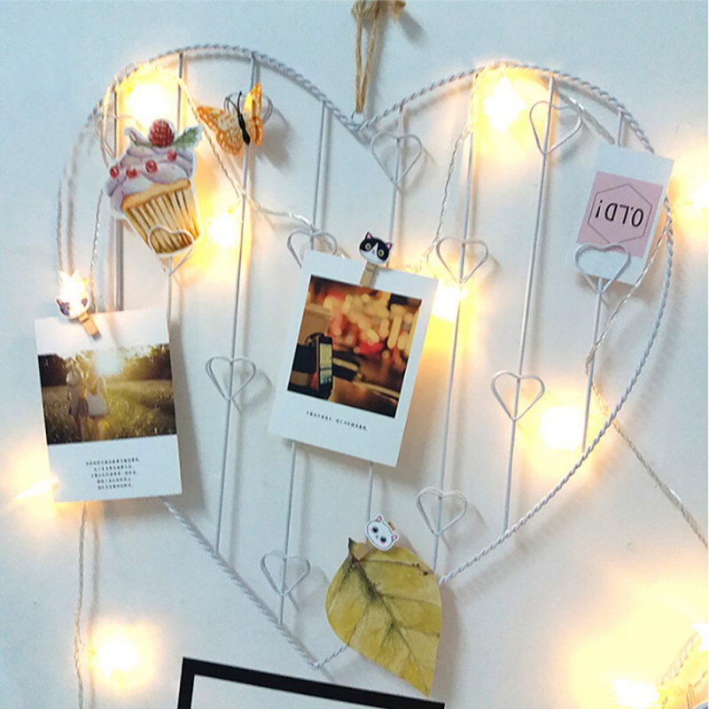 Fashion Gift Lover Wall Mesh Grid Hanging Photo Frame Heart Iron Storage Rack Home Bedroom DIY Decoration Supplies # 20