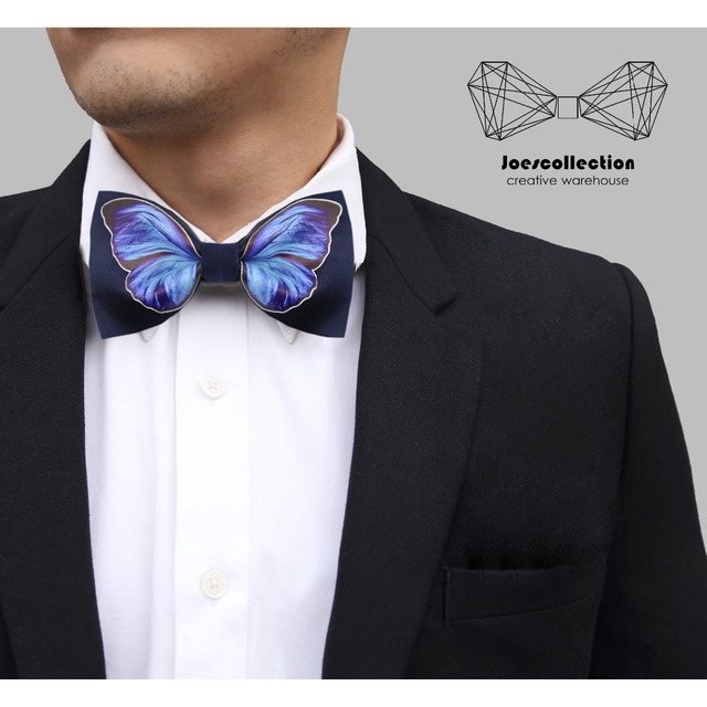 New Free Shipping men's male man fashion Original design printed black tie business casual married groom groomsman butterfly