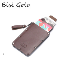 BISI GORO 2019 Genuine Leather Wallet Smart Credit Card Holder Male High Quality Black Coffee Luxury Drop-shipping