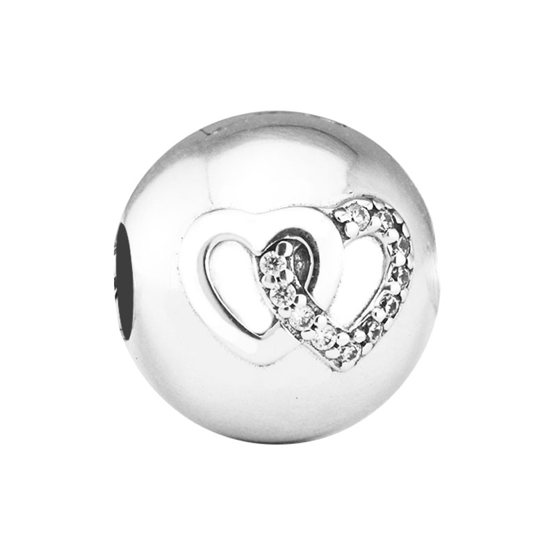 b0a08dcfe08b3 US $14.17 25% OFF|Fits For Pandora Bracelets Heart Bond Clip Charms with  Clear CZ 100% 925 Sterling Silver Jewelry Beads Free Shipping-in Charms  from ...