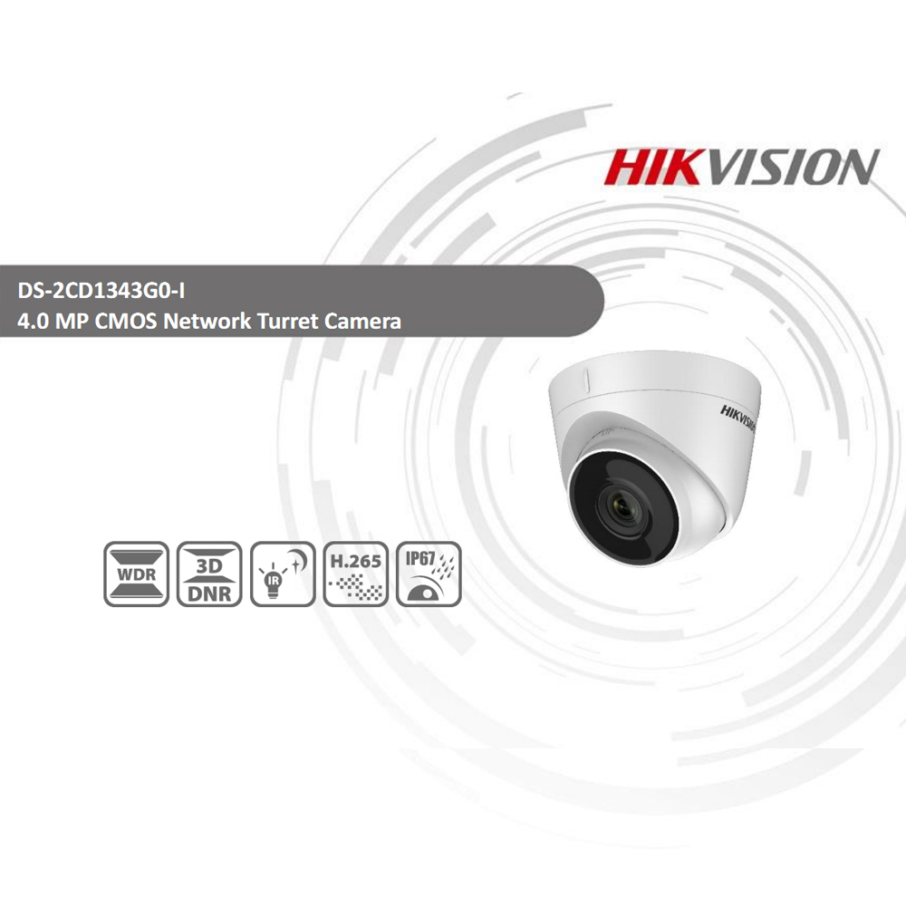 Image 2 - Hikvision DS 2CD1343G0 I POE Camera Video Surveillance 4MP IR Network Dome Camera 30M IR IP67 H.265+ 3D DNR-in Surveillance Cameras from Security & Protection