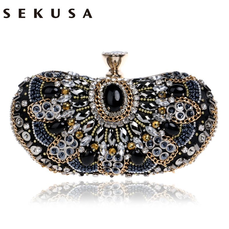 SEKUSA Vintage Beaded Women Evening Bags Rhinestones Wedding Handbags Diamonds Pearl Handle Chain Shoulder Messenger Bags sekusa pu fashion women diamonds luxurious evening bags clutch messenger shoulder chain handbags purse beaded wedding bag