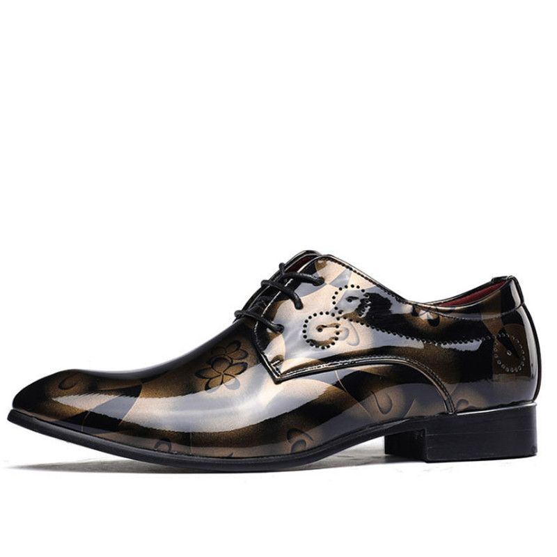37-50  Plus Size Men flower Dress Shoes Shadow Patent Leather Luxury Business Groom Wedding Casual Shoes Men Oxford shoes patent leather men s business pointed toe shoes men oxfords lace up men wedding shoes dress shoe plus size 47 48